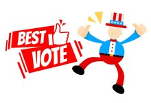 Uncle Sam And Vote Sign Flat D...