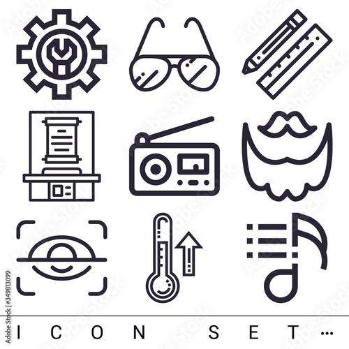 Obraz na plátně 9 pack of integrity lineal web icons set