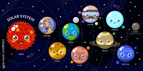 Funny Kawaii Planets With Different Faces Canvas Print