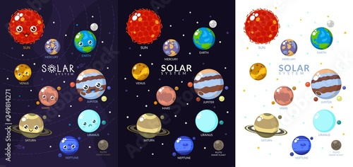 Three Variants Of Solar System With Cartoon Planets Canvas Print