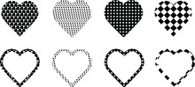 Set Of Black And White Heart C...