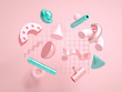 abstract geometric shapes isolated on pink background,3d rendering,conceptual image.
