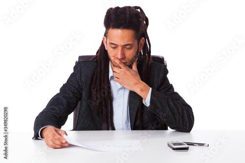Fotografie, Obraz rastafari businessman working at the office