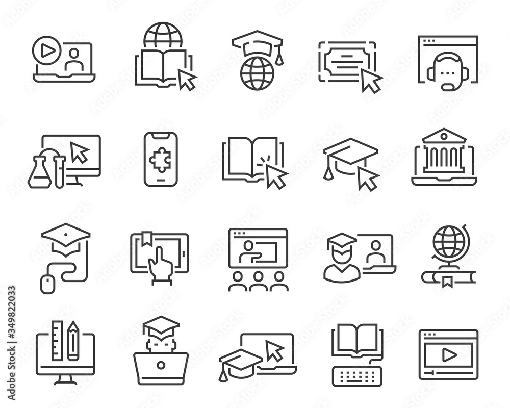 Fototapeta Online education icon set. Collection of linear simple web icons such as online education, mentor, online student, video and audio courses, distance learning, group classes and more. Editable vector