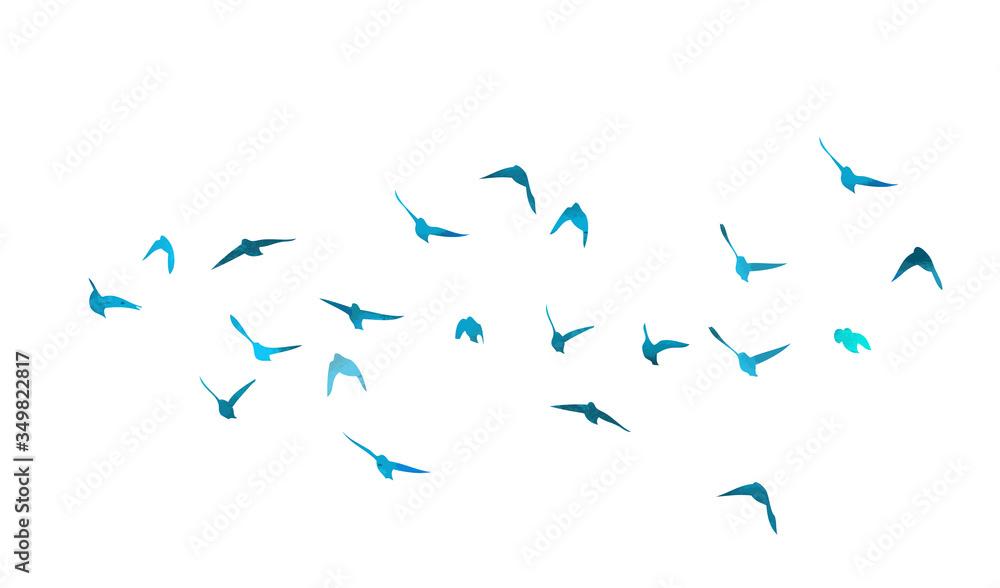 Fototapeta A flock of flying blue birds. Mixed media. Vector illustration
