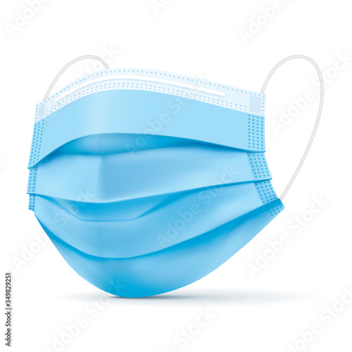 Fototapeta Surgical blue face mask, vector illustration. Virus protection medical mask, standing on a white background in a side view. Disease protective disposable mask with elastic ear loop band, isolated. obraz
