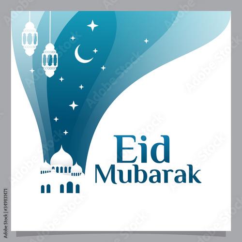 Photo minimalist eid mubarak flyer vector graphic with mosque, cerscent moon, lantern,