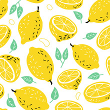 Hand Drawn Lemon, A Slice Of L...