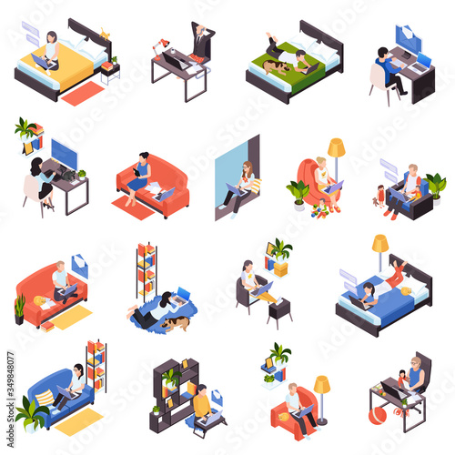 Obraz Remote Work Isometric Set  - fototapety do salonu