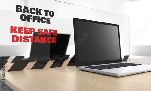Fotografie, Obraz 3d image of a laptop on a desk with plexiglass protective sheet, screen for keep