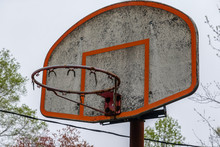 Closeup View Of A Dirty Basketball Backboard With No Net