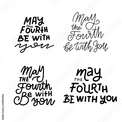 May the fourth be with you- lettering quote set Canvas Print