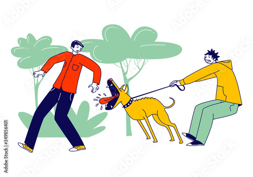 Obraz Scared Passerby Male Character Dash Aside of Dog Attack him in Park. Owner Holding Aggressive Pet on Leash. Animal Barking and Trying to Bite Man Walking on Street. Linear People Vector Illustration - fototapety do salonu