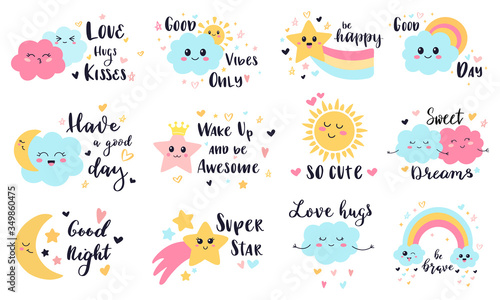 Cute baby labels. Kids sun, cloud and rainbow decorative stickers, cute babies smiling weather characters vector illustration symbols set. Rainbow and sun, summer happy sky with cloud