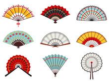 Asian Hand Fans. Paper Folding...