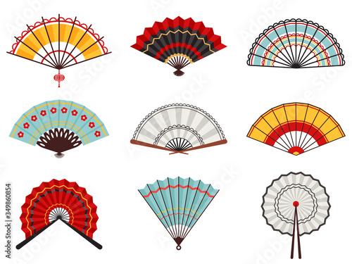 Fototapeta Asian hand fans. Paper folding hand fans, chinese, japanese decorative traditional oriental wooden fans vector illustration icons set. Traditional fan accessory, tradition decoration china folding obraz
