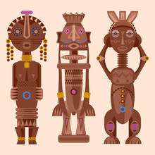 Set Of African Ritual Wooden S...