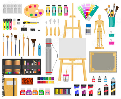Fototapeta Paint art tools. Artistic supplies, painting and drawing materials, brushes, paints, easel, creative art tools vector illustration icons set. Paint drawing brush, education artistic tool obraz