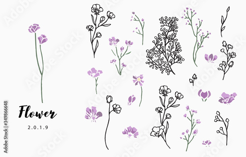 flower logo collection with leaves,geometric.Vector illustration for icon,logo,sticker,printable and tattoo