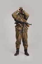 Actor Man In An Old Military U...