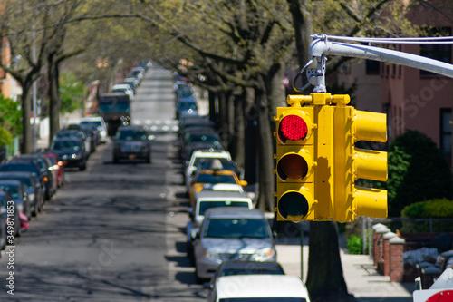 Photo Street Light Hanging Above an Astoria Queens New York Neighborhood Street