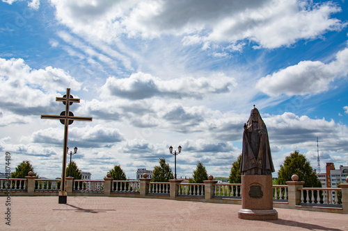 VITEBSK, BELARUS - 14 May 2020:Monument to Patriarch Alexy II near the Holy Dorm Canvas Print