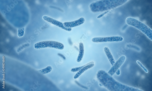 Photo close up of 3d illustration microscopic blue of Legionella pneumophila bacteria