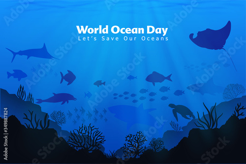 Let's save our oceans. World oceans day design with underwater ocean, dolphin, shark, coral, sea plants, stingray and turtle.