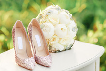 Bridal Glitter Heels Shoes And Wite Wedding Bouquet Outside Green Grass Background  Decor Accessories Ceremony