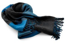 Cold Weather Accessories Concept With Blue Wool Neck Scarf Isolated On White Background With Clipping Path Cutout