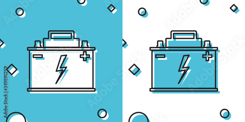 Black Car battery icon isolated on blue and white background Canvas Print