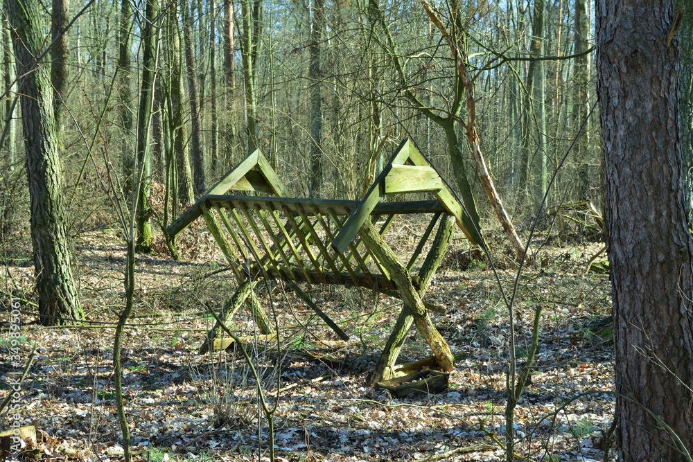 Fototapeta Drewniany pusty paśnik w lesie wśród drzew. - obraz na płótnie