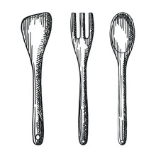 Vector Hand Drawn Rustic Wooden Kitchenware Set Of Fork, Spoon And Spatula Digital Design Elements For Your Logo, Advertisement, Menu, Cafe, Banner Or Flyers.