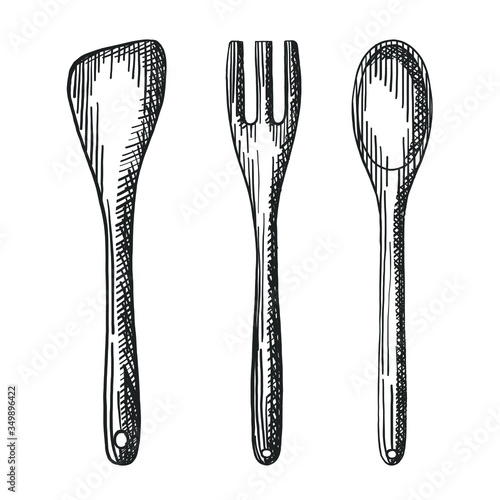 Fotomural Vector hand drawn rustic wooden kitchenware set of fork, spoon and spatula digital design elements for your logo, advertisement, menu, cafe, banner or flyers