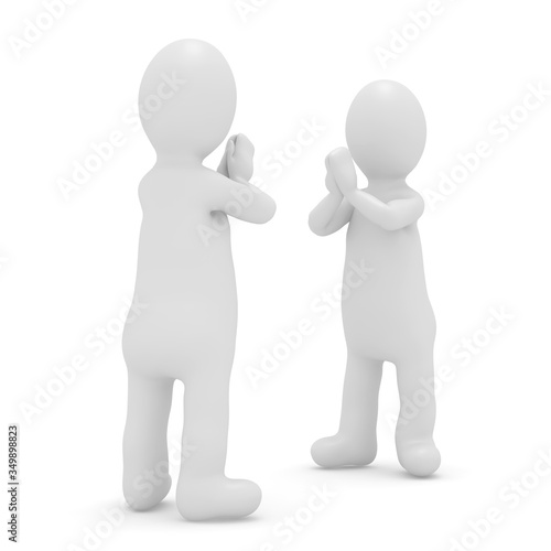 Photo 3d illustration stickman character apologize pose white background isolated