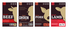 Vector Butchery Labels With Fa...