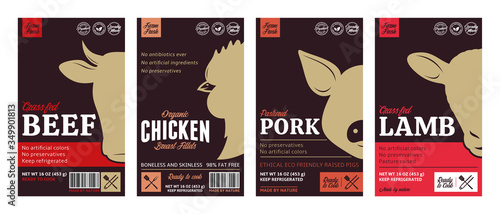 Vector butchery labels with farm animal faces Fototapete