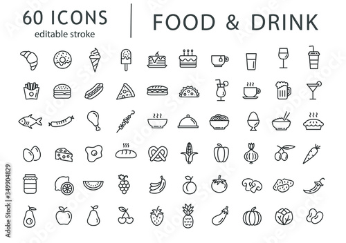 Photo Food and drink - line icon set with editable stroke