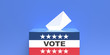 Leinwandbild Motiv US election. USA flag ballot box and envelope on blue background. 3d illustration
