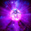 canvas print picture Galactic wormhole exploration / 3D illustration of science fiction scene with astronaut passing through glowing energy portal in outer space
