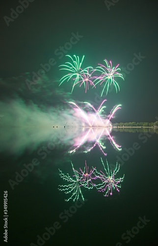 Fototapety, obrazy: Reflection Of Firework Display In River At Night