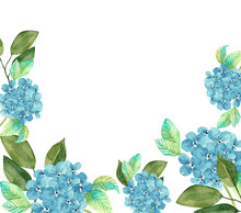 Frame Of Blue Hydrangea Flowers, Watercolor Illustration, Border On A White Background