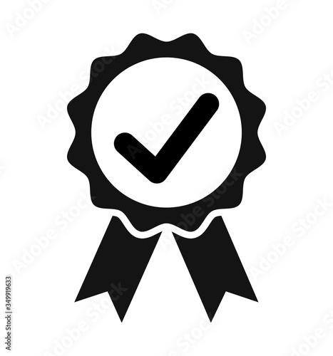 Photographie medal icon with check mark award emblem symbol Vector isolated on white backgrou