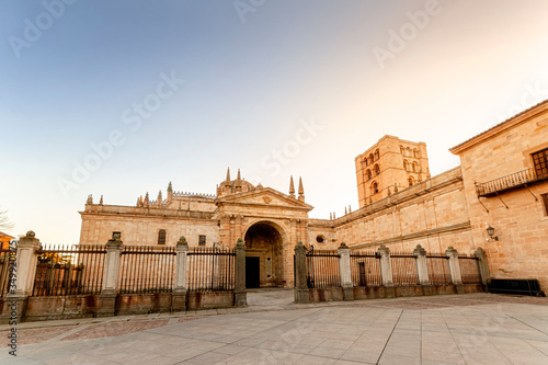 Facade of Zamora Cathedral in Castile and Leon, Spain