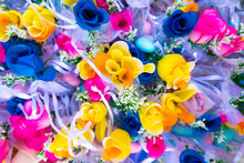 Full Frame Shot Of Colorful Artificial Roses