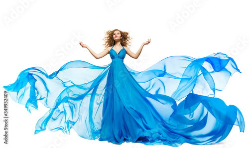 Woman Blue Dress Fluttering on Whind, Waving Silk Cloth and Hair, Artistic Fashi Canvas Print