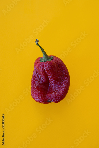 Fotografia, Obraz Ugly vegetables, deformed red bell peppers on a trending orange background
