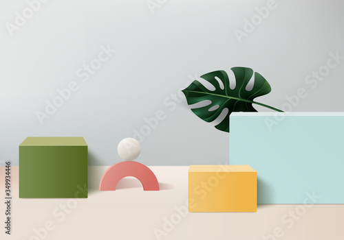 Fényképezés Minimal Podium and scene with 3d vector render in abstract gray background composition, 3d illustration mock up scene geometry shape platform forms for product display
