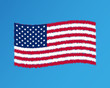 Vector illustration of waving American Flag on gray background. Shaky United States Flag.
