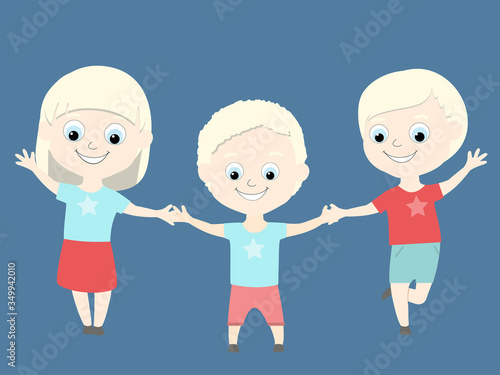 Albino children are happy and cheerful Canvas Print